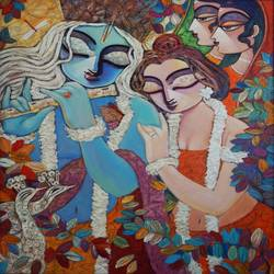 radha krishna paintings, 24 x 30 inch, rupak  chakraborty,24x30inch,canvas,paintings for living room,paintings for bedroom,radha krishna paintings,acrylic color,GAL02596838360