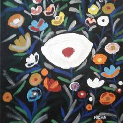 abstract floral painting, 12 x 16 inch, neha saini,12x16inch,canvas,paintings,abstract paintings,flower paintings,paintings for living room,paintings for bedroom,paintings for office,paintings for kids room,paintings for school,acrylic color,GAL02682538362