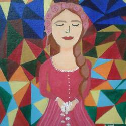 a beautiful lady welcoming with closed dreamy eyes, 9 x 12 inch, neha saini,9x12inch,canvas,paintings,abstract paintings,paintings for living room,paintings for hotel,acrylic color,GAL02682538365