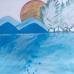 blue mountain, 9 x 11 inch, mrs. kalyani lahon,nature paintings,paintings for bedroom,paper,poster color,9x11inch,GAL06573837Nature,environment,Beauty,scenery,greenery