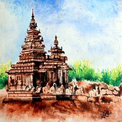 seashore temple, 14 x 10 inch, shirish deshpande,14x10inch,handmade paper,paintings,landscape paintings,religious paintings,realism paintings,paintings for living room,paintings for office,paintings for school,paintings for hospital,watercolor,GAL02647738370