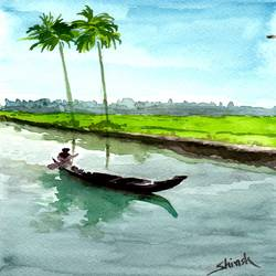 boatman -nature painting, 5 x 8 inch, shirish deshpande,5x8inch,brustro watercolor paper,portrait paintings,realism paintings,paintings for living room,paintings for bedroom,paintings for office,paintings for hotel,paintings for school,paintings for hospital,paintings for living room,paintings for bedroom,paintings for office,paintings for hotel,paintings for school,paintings for hospital,watercolor,GAL02647738371