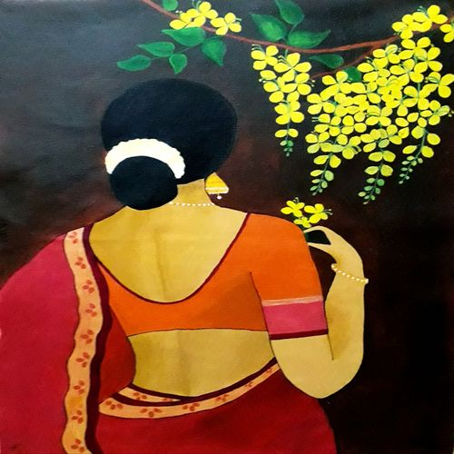 lady with kanikonna poo, 18 x 24 inch, divya sumesh,18x24inch,canvas,paintings,abstract paintings,figurative paintings,paintings for dining room,paintings for living room,paintings for bedroom,paintings for hotel,acrylic color,GAL02568838376