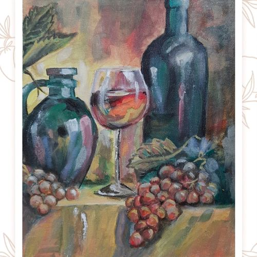 grapes and wine , 14 x 12 inch, vindhya acharya,14x12inch,canvas,paintings,figurative paintings,modern art paintings,paintings for living room,paintings for hotel,paintings for living room,paintings for hotel,acrylic color,GAL02394638377