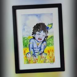 krishna painting, 8 x 12 inch, mounika panthala,8x12inch,brustro watercolor paper,radha krishna paintings,paintings for living room,paintings for kids room,paintings for living room,paintings for kids room,watercolor,paper,GAL02685238378