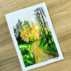 woods , 8 x 12 inch, mounika panthala,8x12inch,brustro watercolor paper,paintings,landscape paintings,paintings for dining room,paintings for living room,paintings for bedroom,paintings for office,paintings for bathroom,paintings for kids room,paintings for hotel,paintings for kitchen,paintings for school,paintings for hospital,watercolor,paper,GAL02685238380