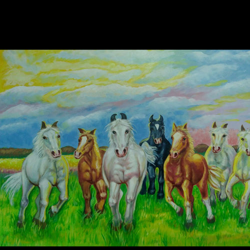 beautiful horse painting, 24 x 18 inch, anant  jadhav,24x18inch,canvas board,paintings,horse paintings,paintings for living room,paintings for office,oil color,GAL02682638382