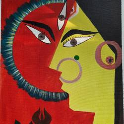 devi, 12 x 14 inch, vinod shiralkar,12x14inch,canvas board,paintings,folk art paintings,paintings for dining room,paintings for living room,paintings for office,acrylic color,GAL02676538389