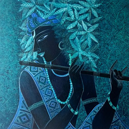 krishna, 24 x 24 inch, tanmoy  roy chowdhury,24x24inch,canvas,paintings,figurative paintings,paintings for dining room,paintings for living room,paintings for bedroom,paintings for office,paintings for hotel,acrylic color,GAL02673738394