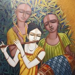 musicians , 36 x 30 inch, tanmoy  roy chowdhury,36x30inch,canvas,paintings,figurative paintings,religious paintings,paintings for dining room,paintings for living room,paintings for bedroom,paintings for office,paintings for hotel,acrylic color,GAL02673738395