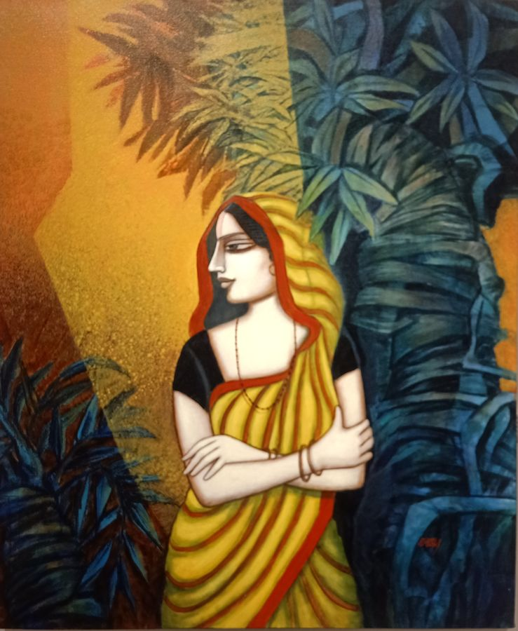 waiting , 36 x 30 inch, tanmoy  roy chowdhury,36x30inch,canvas,figurative paintings,love paintings,paintings for dining room,paintings for living room,paintings for bedroom,paintings for office,paintings for hotel,paintings for dining room,paintings for living room,paintings for bedroom,paintings for office,paintings for hotel,acrylic color,GAL02673738397
