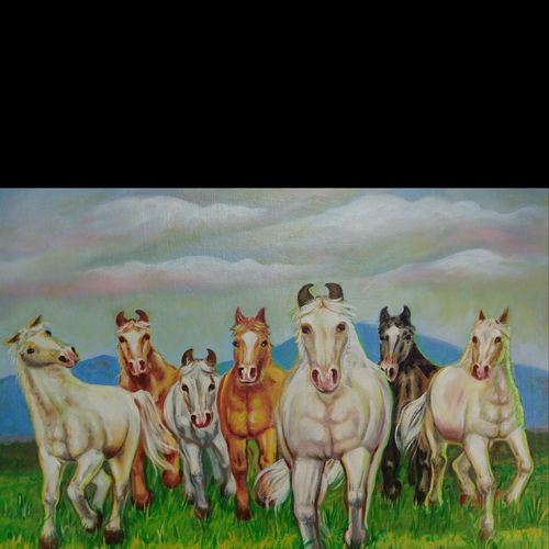 horse painting , 24 x 18 inch, anant  jadhav,24x18inch,canvas board,paintings,horse paintings,paintings for living room,paintings for office,oil color,GAL02682638398