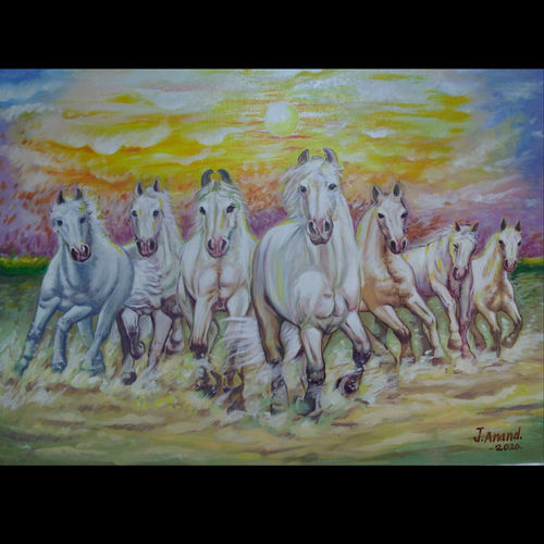 running horse painting , 30 x 22 inch, anant  jadhav,30x22inch,canvas board,paintings,horse paintings,paintings for living room,paintings for office,oil color,GAL02682638399