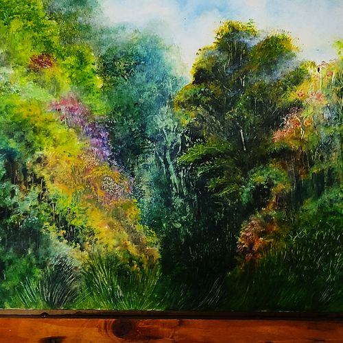 shades of green in virgin forest, 21 x 14 inch, vagad joseph,21x14inch,canvas,paintings,landscape paintings,conceptual paintings,photorealism paintings,realism paintings,contemporary paintings,paintings for dining room,paintings for living room,paintings for bedroom,paintings for office,paintings for kids room,paintings for hotel,paintings for school,paintings for hospital,acrylic color,GAL02685638405
