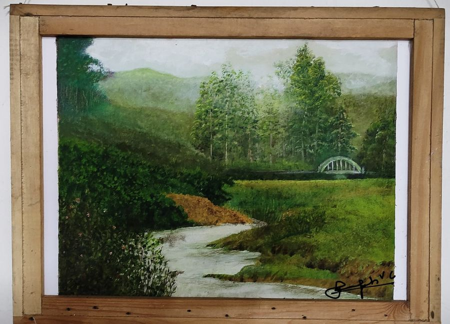 old bridge in munnar, 19 x 14 inch, vagad joseph,19x14inch,canvas,paintings,landscape paintings,nature paintings | scenery paintings,photorealism,realism paintings,paintings for dining room,paintings for living room,paintings for bedroom,paintings for office,paintings for hotel,paintings for school,paintings for hospital,oil color,GAL02685638406
