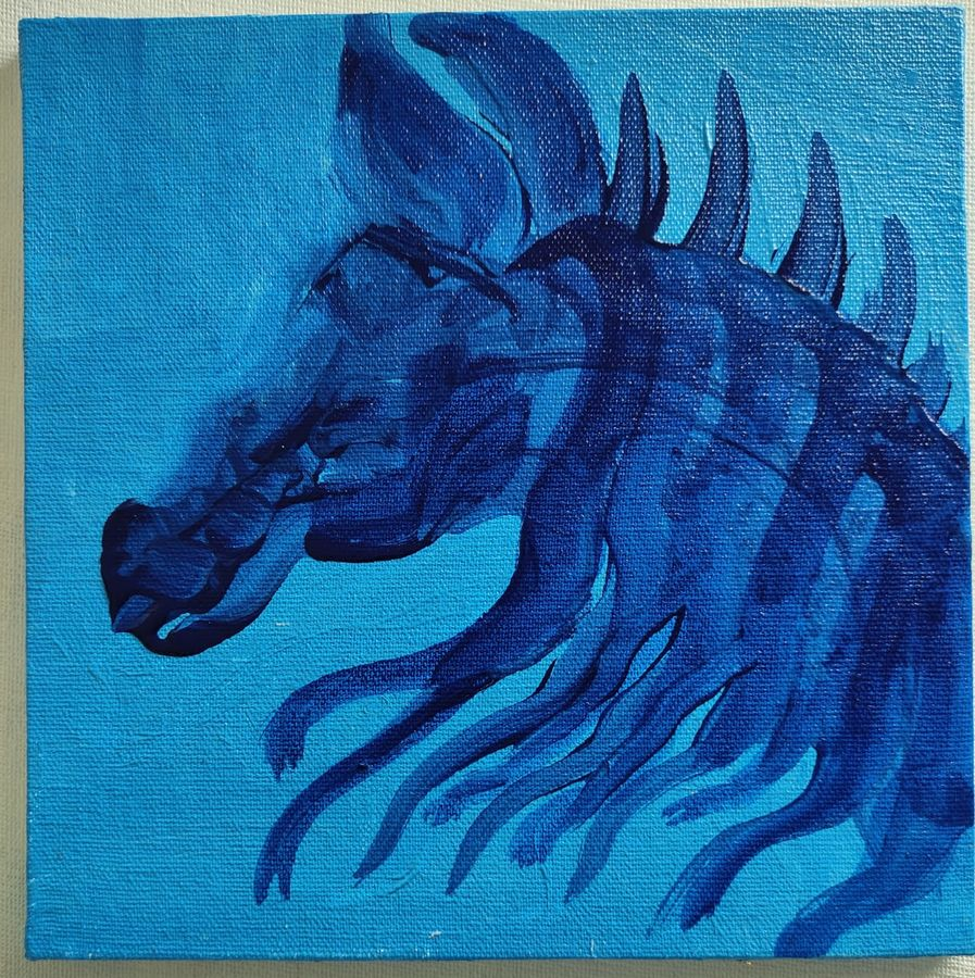 blue horse, 8 x 8 inch, vagad joseph,8x8inch,canvas board,paintings,abstract paintings,wildlife paintings,figurative paintings,folk art paintings,modern art paintings,conceptual paintings,animal paintings,paintings for dining room,paintings for living room,paintings for bedroom,paintings for office,paintings for kids room,paintings for hotel,paintings for hospital,acrylic color,GAL02685638407
