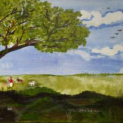 farm, 24 x 18 inch, vinod shiralkar,24x18inch,canvas board,paintings,landscape paintings,acrylic color,GAL02676538409