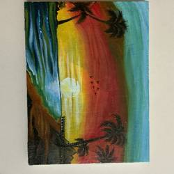 sunset at the beach, 6 x 8 inch, vinita jain,6x8inch,canvas,paintings,nature paintings | scenery paintings,acrylic color,GAL02662238413