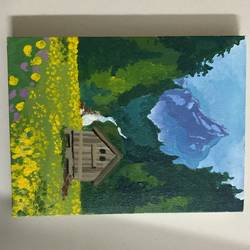 hut between mountains, 6 x 8 inch, vinita jain,6x8inch,canvas,paintings,nature paintings | scenery paintings,acrylic color,GAL02662238416