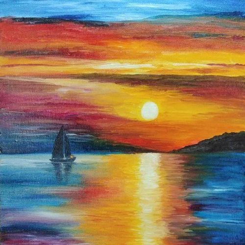 sunset in the sea, 12 x 16 inch, lalitha priyadharshini,12x16inch,canvas,paintings,landscape paintings,nature paintings | scenery paintings,paintings for living room,paintings for office,oil color,GAL02682138430
