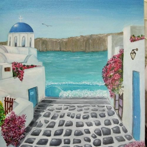 santorini by the bay, 18 x 24 inch, lalitha priyadharshini,18x24inch,canvas,nature paintings | scenery paintings,paintings for dining room,paintings for living room,paintings for bedroom,paintings for hotel,paintings for dining room,paintings for living room,paintings for bedroom,paintings for hotel,oil color,GAL02682138431
