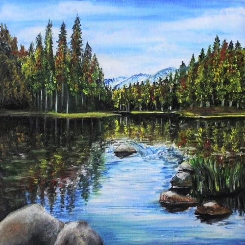 autumn lake, 12 x 12 inch, lalitha priyadharshini,12x12inch,canvas,paintings,landscape paintings,nature paintings | scenery paintings,realistic paintings,paintings for dining room,paintings for living room,paintings for bedroom,paintings for office,paintings for bathroom,paintings for kids room,paintings for hotel,acrylic color,oil color,GAL02682138434