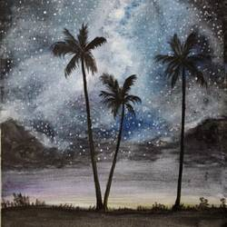 starry night, 12 x 16 inch, lalitha priyadharshini,12x16inch,canvas,paintings,cityscape paintings,still life paintings,nature paintings   scenery paintings,realistic paintings,paintings for dining room,paintings for living room,paintings for bedroom,paintings for office,paintings for bathroom,paintings for hotel,watercolor,GAL02682138435