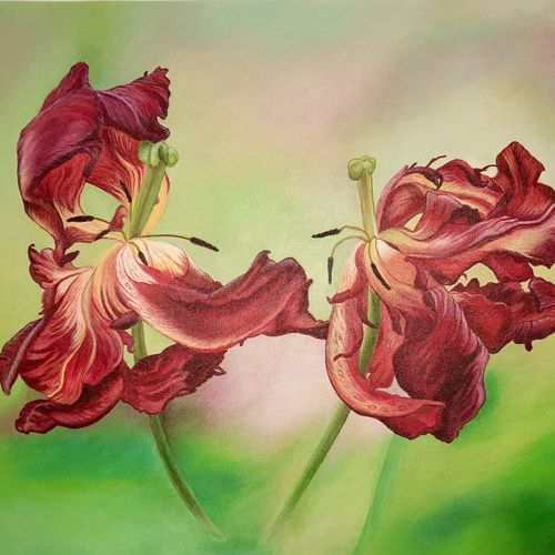 """""""flame of flowers #, 18 x 24 inch, irina  nagill ,18x24inch,canvas,paintings,flower paintings,realism paintings,realistic paintings,paintings for dining room,paintings for living room,paintings for bedroom,paintings for office,paintings for hotel,paintings for kitchen,acrylic color,GAL02689138442"""