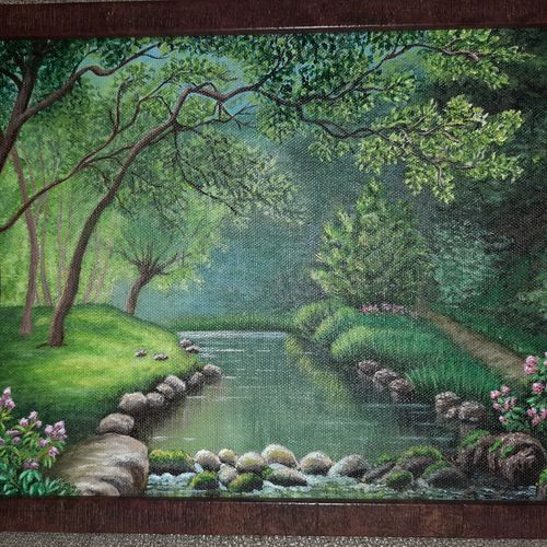 """""""forest river """", 9 x 12 inch, irina  nagill ,9x12inch,canvas,paintings,wildlife paintings,landscape paintings,nature paintings 