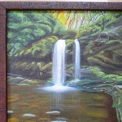 """forest waterfall "", 9 x 12 inch, irina  nagill ,9x12inch,canvas board,paintings,wildlife paintings,landscape paintings,nature paintings 