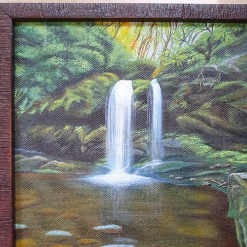 """""""forest waterfall """", 9 x 12 inch, irina  nagill ,9x12inch,canvas board,paintings,wildlife paintings,landscape paintings,nature paintings 