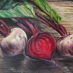 """beetroot"", 9 x 12 inch, irina  nagill ,9x12inch,canvas board,paintings,nature paintings 