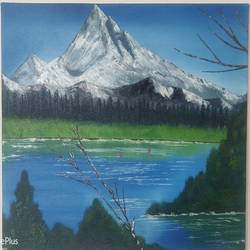 mighty mountain, 30 x 24 inch, sunil john,30x24inch,canvas,paintings,landscape paintings,oil color,GAL02678138458