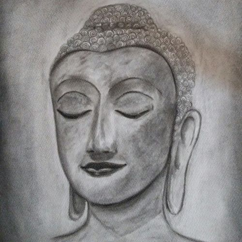 at peace, 12 x 16 inch, arpana d,abstract drawings,paintings for living room,buddha drawings,paper,charcoal,12x16inch,GAL09643846