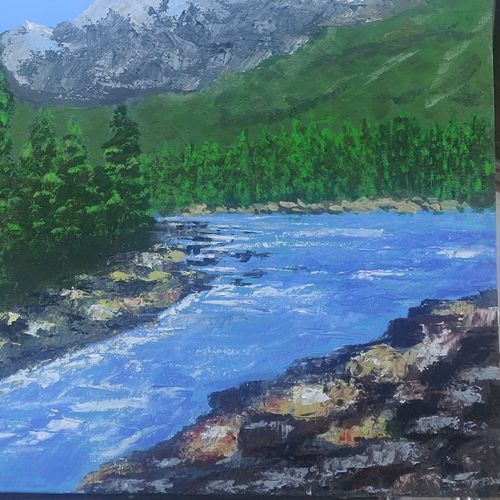river by the mountains , 30 x 24 inch, sunil john,30x24inch,canvas,landscape paintings,acrylic color,GAL02678138462