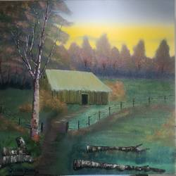 house by the woods, 30 x 24 inch, sunil john,30x24inch,canvas,landscape paintings,oil color,GAL02678138464
