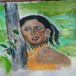 smita patil, 12 x 12 inch, suresh yadav,12x12inch,canvas,figurative paintings,portrait paintings,expressionism paintings,paintings for dining room,paintings for bedroom,paintings for dining room,paintings for bedroom,acrylic color,GAL02620938468