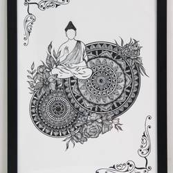 mandala art, 12 x 17 inch, sowmya sriramula,12x17inch,thick paper,drawings,fine art drawings,buddha drawings,paintings for dining room,paintings for living room,paintings for bedroom,paintings for office,pen color,paper,GAL02694338471