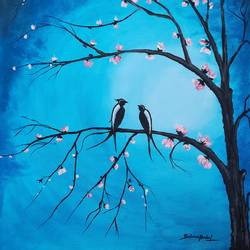 birds on tree , 23 x 30 inch, srinu badri,23x30inch,canvas,paintings,flower paintings,modern art paintings,nature paintings | scenery paintings,love paintings,paintings for dining room,paintings for living room,paintings for bedroom,paintings for office,paintings for dining room,paintings for living room,paintings for bedroom,paintings for office,acrylic color,GAL01289938472