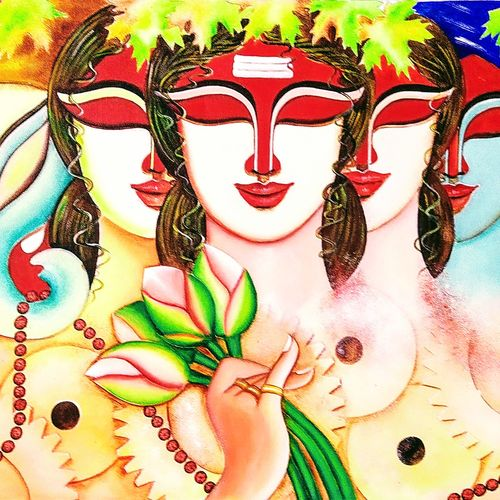agomoni, 19 x 46 inch, susmita mandal,19x46inch,canvas,paintings,contemporary paintings,paintings for dining room,paintings for hotel,acrylic color,GAL01940538478