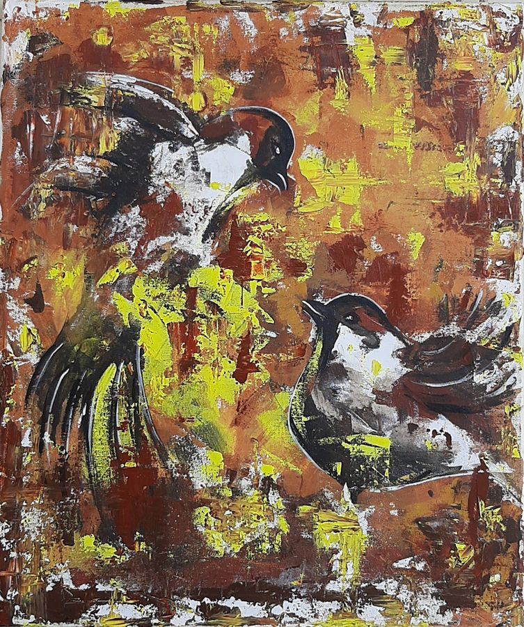 birds, 20 x 24 inch, minakshi  sharma,20x24inch,canvas,paintings,abstract paintings,paintings for living room,paintings for office,paintings for hotel,paintings for hospital,acrylic color,GAL02694938479