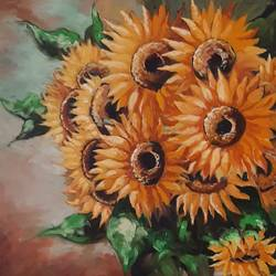 sunflowers , 36 x 48 inch, minakshi  sharma,36x48inch,canvas,paintings,flower paintings,paintings for dining room,paintings for living room,paintings for office,paintings for hotel,paintings for hospital,oil color,GAL02694938481