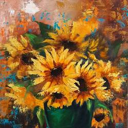 sunflowers , 24 x 30 inch, minakshi  sharma,24x30inch,canvas,paintings,flower paintings,paintings for dining room,paintings for living room,paintings for office,paintings for hotel,paintings for hospital,oil color,GAL02694938482