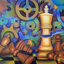 check mate, 36 x 48 inch, susmita mandal,36x48inch,canvas,paintings,abstract paintings,paintings for living room,paintings for office,paintings for hotel,acrylic color,GAL01940538484