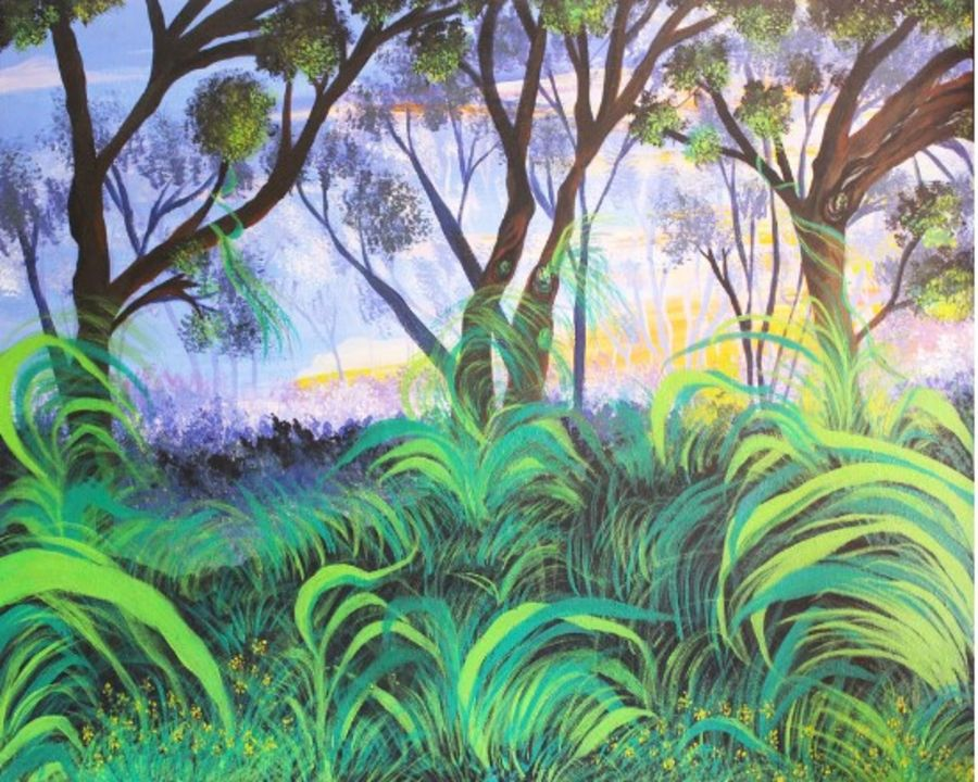 mesmerizing jungle's beauty, 30 x 24 inch, pritam shaw,landscape paintings,paintings for living room,canvas,acrylic color,30x24inch,GAL014103849