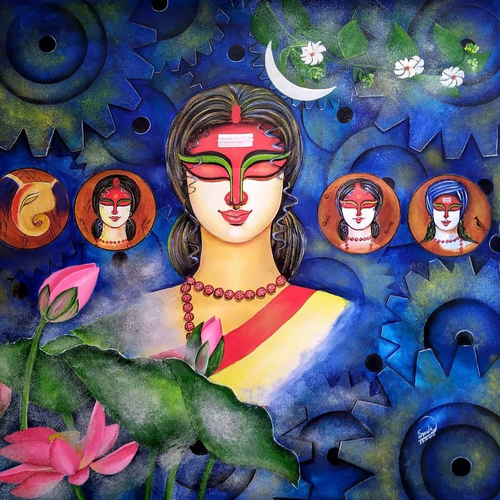 amar durga, 32 x 34 inch, susmita mandal,32x34inch,canvas,paintings,contemporary paintings,paintings for living room,paintings for bedroom,paintings for hotel,acrylic color,GAL01940538490