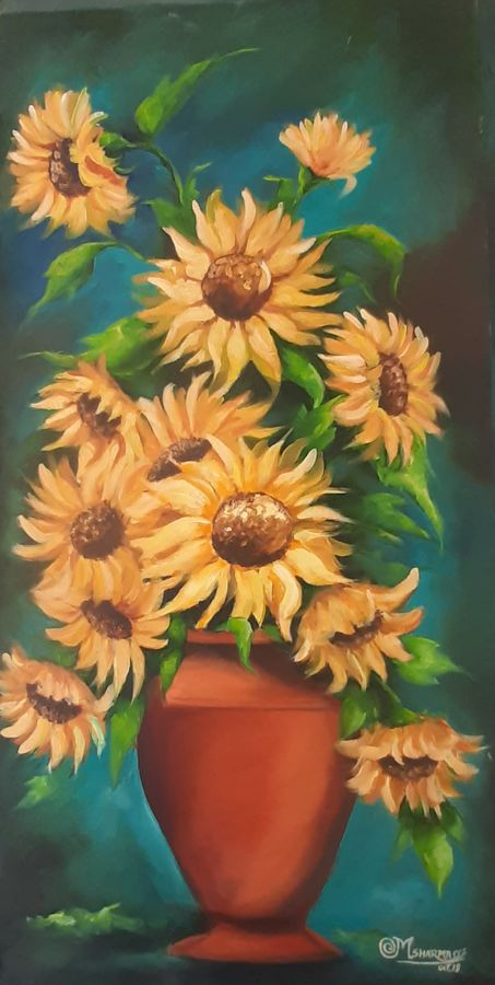 sunflowers , 18 x 36 inch, minakshi  sharma,18x36inch,canvas,paintings,flower paintings,paintings for dining room,paintings for living room,paintings for office,paintings for hotel,oil color,GAL02694938491