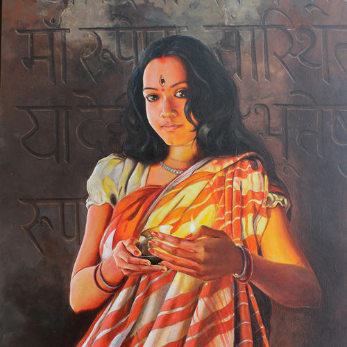 durga, 57 x 36 inch, satyabrata karmakar,figurative paintings,paintings for dining room,paintings for living room,paintings for bedroom,paintings for office,canvas,acrylic color,57x36inch,GAL0168385