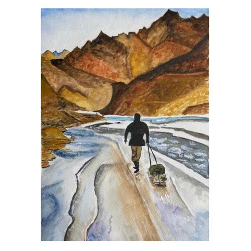 frozen river walk !! (chadar) , 8 x 12 inch, vaishali puranik,8x12inch,brustro watercolor paper,paintings,landscape paintings,nature paintings | scenery paintings,paintings for dining room,paintings for living room,paintings for bedroom,paintings for office,paintings for bathroom,paintings for hotel,paintings for school,paintings for hospital,watercolor,GAL02688738500