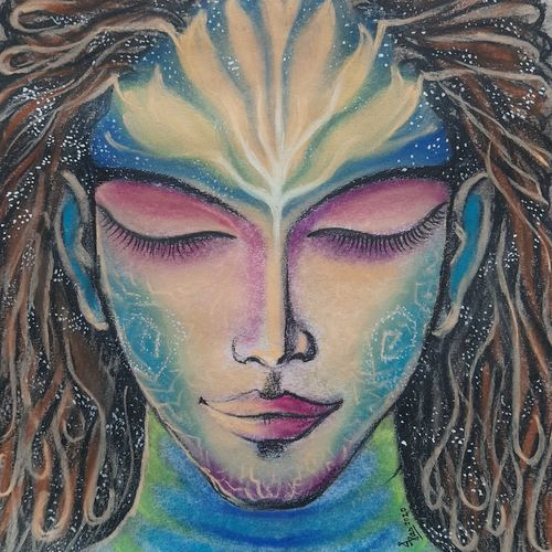 in his devine dream we exist., 11 x 14 inch, indranil das,11x14inch,drawing paper,paintings,modern art paintings,conceptual paintings,lord shiva paintings,paintings for dining room,paintings for living room,pastel color,GAL02693638503